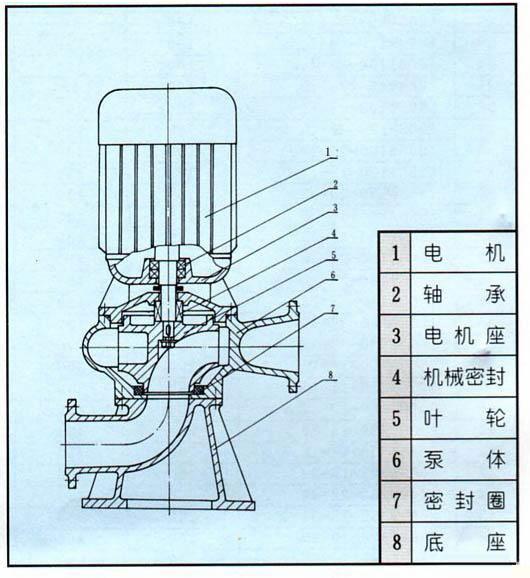 LW型直立式无堵塞排污泵结构图