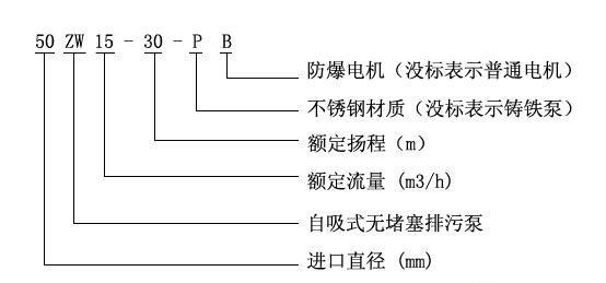 ZW自吸式无堵塞排污泵型号意义