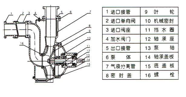ZW型自吸式无堵塞排污泵(结构图)