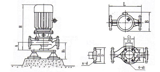 IHG立式管道离心泵安装尺寸图