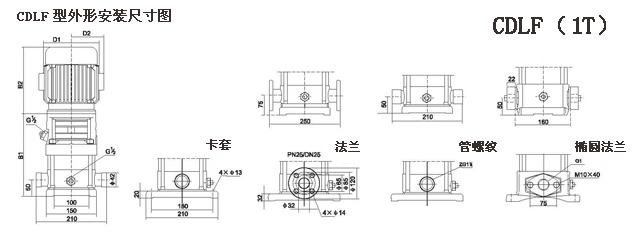 CDLF型不锈钢多级离心泵参数尺寸(1T)
