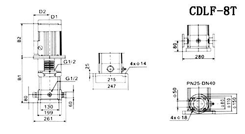 CDLF型不锈钢多级离心泵参数尺寸(8T)