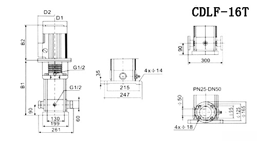 CDLF型不锈钢多级离心泵参数尺寸(16T)