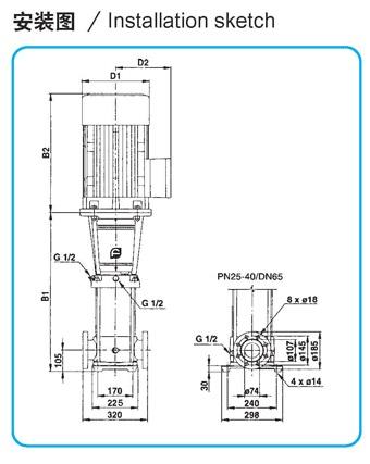 CDLF型不锈钢多级离心泵参数尺寸(32T)
